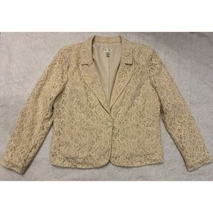 Dressbarn Womens Blazer Jacket Sz XL Tan Floral